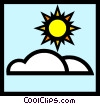 Vector Clip Art image  of a Sun & clouds