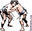 Sumo Wrestlers Vector Clipart illustration