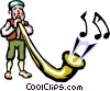 Vector Clip Art image  of a Swiss horn blower
