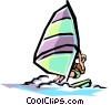 Vector Clip Art graphic  of a Sailboard