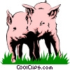 Vector Clipart illustration  of a Pigs playing