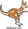 Cartoon kangaroos Vector Clipart illustration