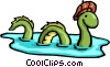 Cartoon Loch Ness Monster Vector Clipart illustration