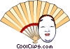Vector Clipart picture  of a Japanese mask & fan