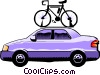 Car with bicycle roof rack Vector Clipart picture