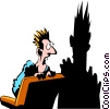 Vector Clipart picture  of an Afraid of his own shadow