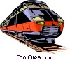 Vector Clip Art graphic  of a Speeding Train
