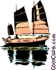 Vector Clip Art picture  of a Japanese junk