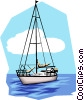 Vector Clip Art image  of a Sailboat on the water