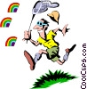 Vector Clipart picture  of a Chasing rainbows