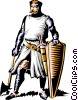 Vector Clip Art picture  of a Knight ready for battle