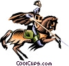 Vector Clipart image  of a Knight on horseback