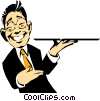 Cartoon waiter with tray Vector Clipart illustration