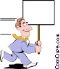Vector Clipart graphic  of a Cartoon man with placard