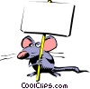Cartoon mouse with placard Vector Clip Art picture