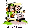 Vector Clipart graphic  of a Cartoon golf cart