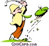 Vector Clipart graphic  of a Cartoon golfer