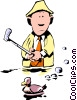 Vector Clip Art image  of a Cartoon golfer