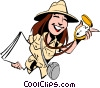 Vector Clip Art graphic  of a Cartoon female adventurer