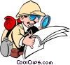 Cartoon male adventurer Vector Clipart illustration