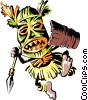Vector Clipart graphic  of a Cartoon tribal warrior