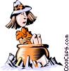 Cartoon woman in big pot Vector Clip Art picture