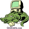 Cartoon alligator with computer Vector Clipart illustration