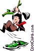 Vector Clip Art graphic  of a Cartoon man swinging on vine