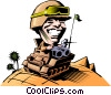 Cartoon tank commander Vector Clipart picture