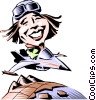 Cartoon pilot Vector Clipart picture