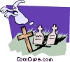 Vector Clip Art graphic  of a Graveyard