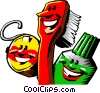 Vector Clip Art image  of a toothbrush with toothpaste