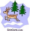 Vector Clipart image  of a White-tailed cartoon deer