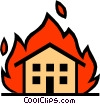 Vector Clipart graphic  of a House on fire