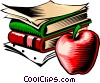Books with apple Vector Clip Art graphic