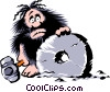 Vector Clip Art graphic  of a Cartoon cavemen