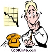 Vector Clipart illustration  of a man waiting for the phone to ring