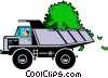 Vector Clip Art graphic  of a Cartoon dump truck with money
