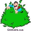 Cartoon man rolling in money Vector Clipart graphic