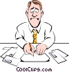 Vector Clip Art graphic  of a Cartoon man paying his bills