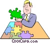 Vector Clip Art picture  of a Cartoon puzzle pieces
