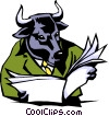 Vector Clipart image  of a Cartoon bull