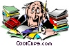 Vector Clip Art image  of a Cartoon frazzled executive