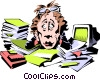 Vector Clipart image  of a Cartoon frazzled woman