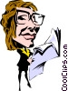 Cartoon woman reading newspaper Vector Clipart picture