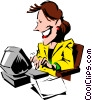 Cartoon woman typing at computer Vector Clip Art graphic