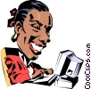 Vector Clipart graphic  of a Cartoon woman typing at