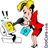Cartoon woman pointing a gun at computer Vector Clipart illustration