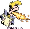 Vector Clip Art image  of a Cartoon woman breathing fire