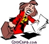 Cartoon woman with report Vector Clipart graphic